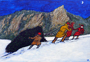Christmas Greeting Painting Posters - Boulder Christmas Poster by Tom Roderick