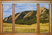 Commercial Space Art Framed Prints - Boulder Colorado Flatirons Window Scenic View Framed Print by James Bo Insogna