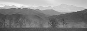 Farm Fields Framed Prints - Boulder County Colorado Layers Panorama BW Framed Print by James Bo Insogna