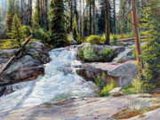 Mountain Stream Paintings - Boulder Creek Falls by Steve Spencer