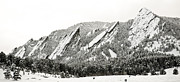 Snowy Field Prints - Boulder Flatirons Colorado 1 Print by Marilyn Hunt