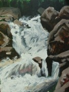 Waterfalls Paintings - Boulder River Falls Plien Air by Mia DeLode