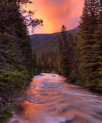 Highest Quality Art Framed Prints - Boulder River Sunset Framed Print by Leland Howard