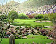 Arizona Golf Course Paintings - Boulders South Number 7 by William Tockes