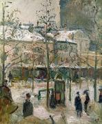 Crowd Scene Paintings - Boulevard de Rocheouart in Snow by Camille Pissarro