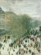 Crowd Scene Paintings - Boulevard des Capucines by Claude Monet