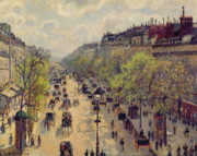 Horse And Carriage Posters - Boulevard Montmartre Poster by Camille Pissarro