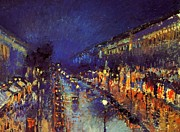 Montmartre Paintings - Boulevard Montmartre Night by Pg Reproductions