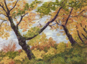 Fall Colors Autumn Colors Pastels Posters - Boulevard Park Poster by Susan Ernst Corser