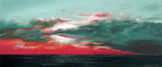 Reds Orange And Blue Metal Prints - Bound of Glory - Panoramic Sunset  Metal Print by Gina De Gorna