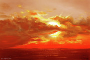 Tropical Sunsets Posters - Bound of Glory - Red Sunset  Poster by Gina De Gorna