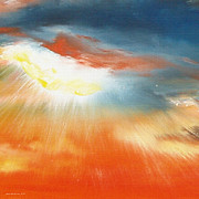 Sunset Pieces Posters - Bound of Glory 4 - Square Sunset Painting Poster by Gina De Gorna