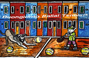 Racket Drawings - Bounjiorno Italia Tennis by Monica Engeler