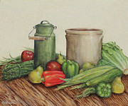 Stoneware Paintings - Bountiful Blessings by Rita   Broughton