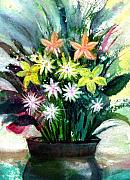 Water Color Mixed Media Posters - Bouquet 2 Poster by Anil Nene