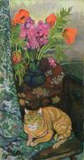 Interior Still Life Painting Metal Prints - Bouquet and a Cat Metal Print by Marie Clementine Valadon