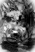 New Year Posters - Bouquet and Beads BW Poster by DigiArt Diaries by Vicky Browning