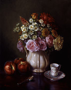 Bouquet And Dresden Cup Print by Lyndall Bass