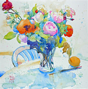 Bouquet Paintings - Bouquet and orange by Andre MEHU