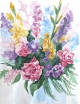 Assorted Painting Framed Prints - Bouquet  Framed Print by Denise Jo Williams