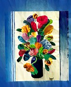 Bright Mixed Media Prints - Bouquet in a Country Window Print by Sarah Loft