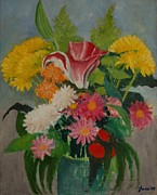 Lester Glass - Bouquet in a Green Vase