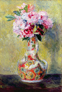 Still Life Framed Prints - Bouquet in a Vase Framed Print by Pierre Auguste Renoir