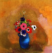 Anemones Paintings - Bouquet of Anemones by Pg Reproductions