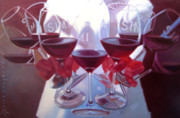Glass Art Painting Posters - Bouquet of Cabernet Poster by Penelope Moore