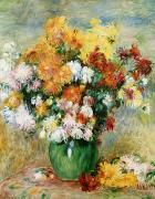 Chrysanthemums  Posters - Bouquet of Chrysanthemums Poster by Pierre Auguste Renoir