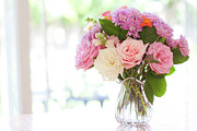 Rose Art - Bouquet Of Flowers On Table Near Window by Jessica Holden Photography