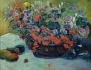 Basin Paintings - Bouquet of Flowers by Paul Gauguin