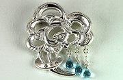 Rain Jewelry - Bouquet of Rain sterling silver brooch with blue topaz drops and diamond accents by Anastasia Savenko