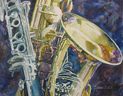 Saxophone Metal Prints - Bouquet of Reeds Metal Print by Jenny Armitage