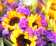 Perennials Painting Posters - Bouquet of Sunflowers and Purple Statice Poster by Elaine Plesser