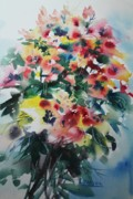Assorted Painting Framed Prints - Bouquet Framed Print by Ross  Longul