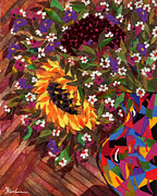 Sunflowers Tapestries - Textiles - Bouquet with a Sunflower by Marina Gershman