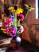 Bouquet Art - Bouquet With Black-Eyed Susans and Phlox by Susan Savad