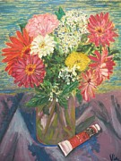 Vase Of Flowers Prints - Bouquet with Paint Print by Judy Via-Wolff
