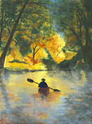 Kayaking Pastels Posters - Bourbeuse River Sunrise Poster by Garry McMichael