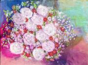 Entertaining Mixed Media Prints - Bourbon Rose Boule De Neige Print by Don  Wright