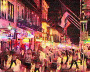 Crowds  Digital Art Prints - Bourbon Street Print by Anthony Caruso