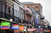 French Signs Photos - Bourbon Street At Dusk by Taylor S. Kennedy