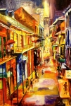 New Orleans Oil Painting Metal Prints - Bourbon Street Glitter Metal Print by Diane Millsap