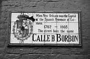 French Quarter Prints - Bourbon Street Historic Plaque French Quarter New Orleans Black and White Print by Shawn OBrien