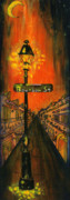 New Orleans Painting Prints - Bourbon Street lamp post Print by Catherine Wilson