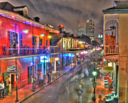 Night Life Framed Prints - Bourbon Street Revelry Framed Print by Alex Owen