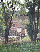 Green Oil Paintings - Bournemouth Throop mill through trees by Martin Davey