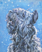 Snow Dog Posters - Bouvier Des Flandres snow Poster by Lee Ann Shepard