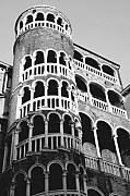 Bovolo Photos - Bovolo Staircase in Venice black and white by Michael Henderson